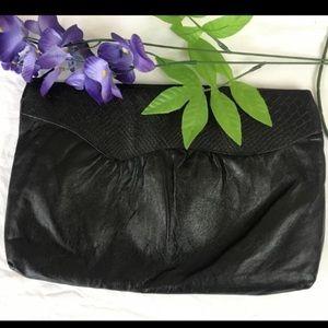 Vintage Black Leather Clutch
